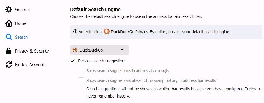 The Search settings in the Firefox web browser that set the default search engine