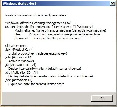 Some of the command-line switches of the Windows Software Licensing Management Tool, slmgr.vbs