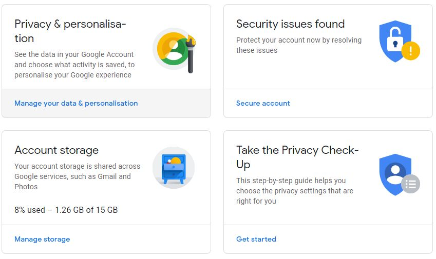 Ban Google - Manage your data and personalization
