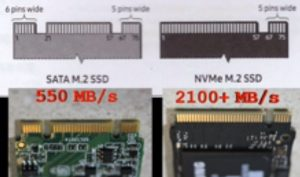Showing the key notches on a SATA (two notches) and NVMe SSD (one notch)
