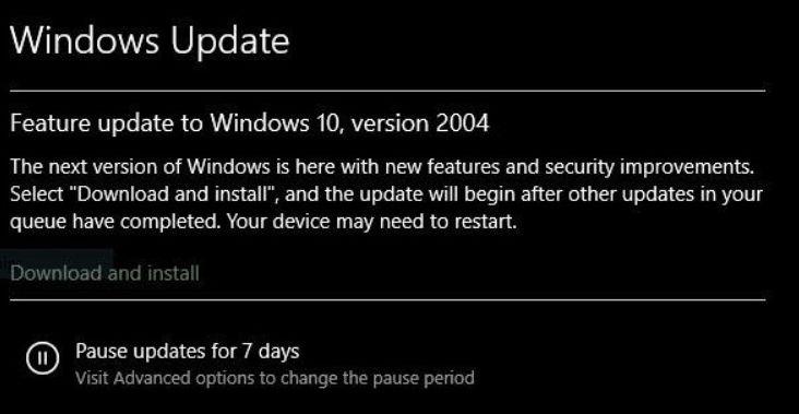 Win10 version 2004 update notice as it appears in Windows Update