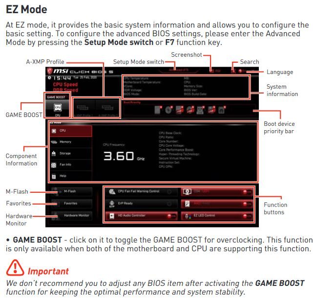 MSI motherboard UEFI BIOS Game Boost that applies overclocking settings