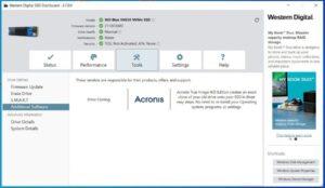 WD SSD Dashboard - Tools tab