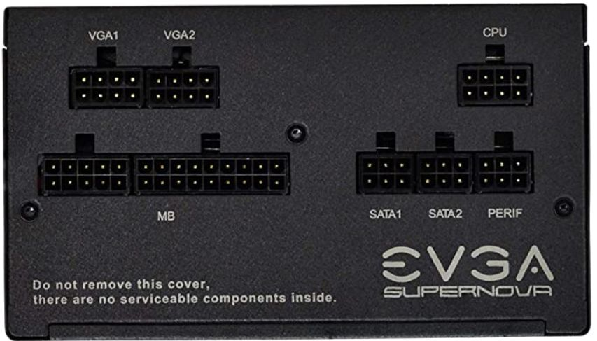 Connectors for the individual power cables of a fully-modular EVGA Supernova PSU