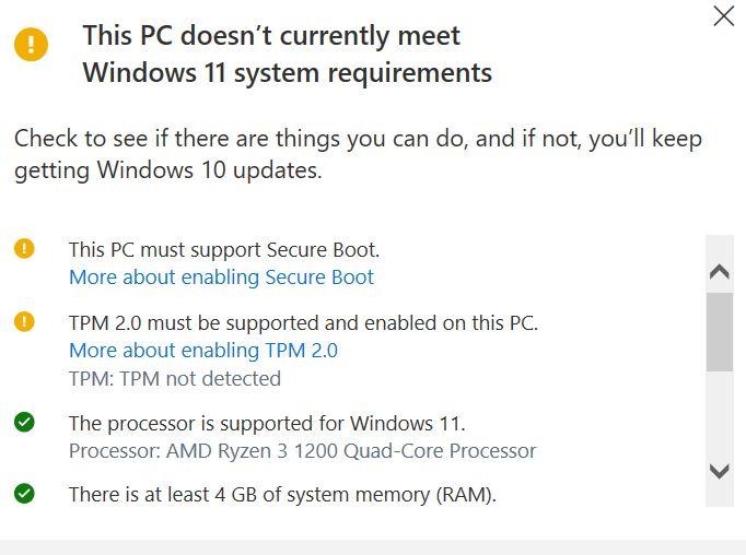 Windows 11 compatibility checker - PC Health Check app results